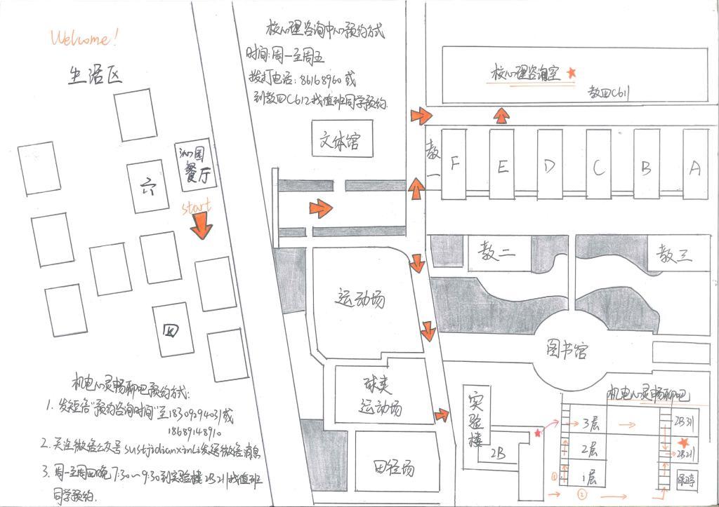 手绘图上标出,同时阐明它们的空间位置,特别是与班级同学所住宿舍之
